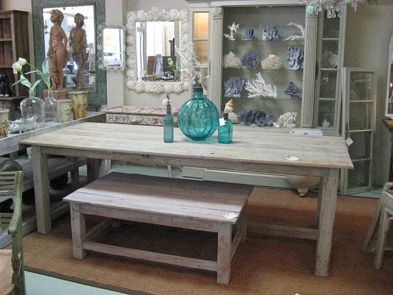 Distressed Kitchen Table With Bench