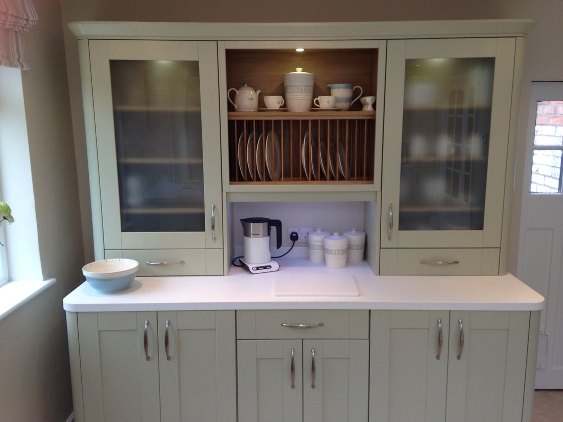 Wren Kitchen Sage Green Kitchen Plate Rack With White Corian And Pollys Pantry Plates