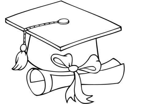 Graduate cap with diploma coloring page graduation ideas for Graduation coloring pages to print