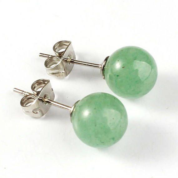 Handmade Earrings Jade Stud Earring Studs Best Of Etsy Semi Precious Stone Rough Genuine Green