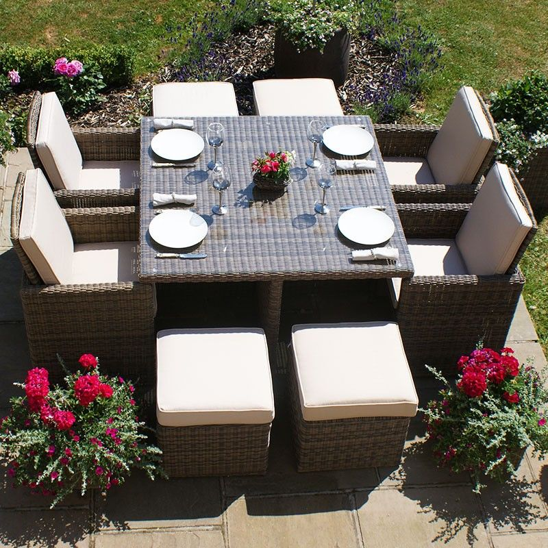 Maze Rattan Winchester 4 Seat Cube Set With Footstools Cube Sets With Images Rattan Garden Furniture Garden Furniture Sets Garden Furniture