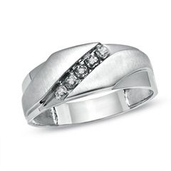 Mens Diamond Accent Slant Wedding Band in 10K White Gold View All