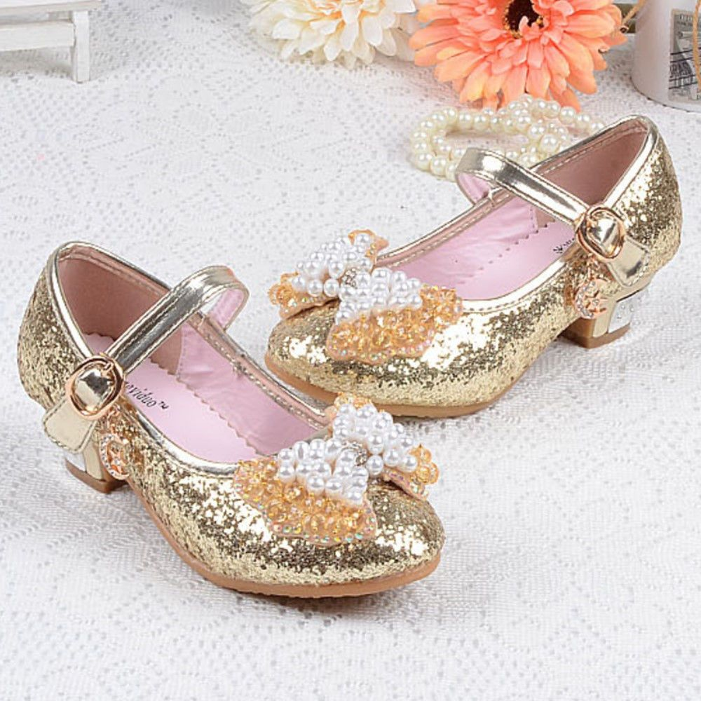 GIRLS DIAMANTE MARY JANE GLITTER FLOWER BRIDESMAID WEDDING PARTY SHOES SIZE