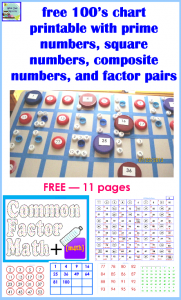Free  Chart With Prime Square And Factor Pairs  Math Ideas