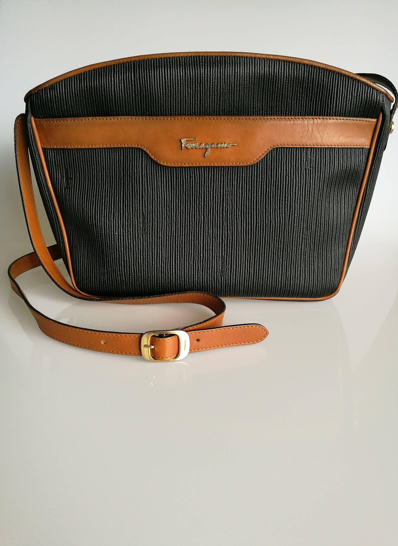 Salvatore Ferragamo Vintage Black Coated Canvas and Tan leather trim  Shoulder   Messenger bag by DelpheneAvenue on Etsy 7a28e97aba7c5
