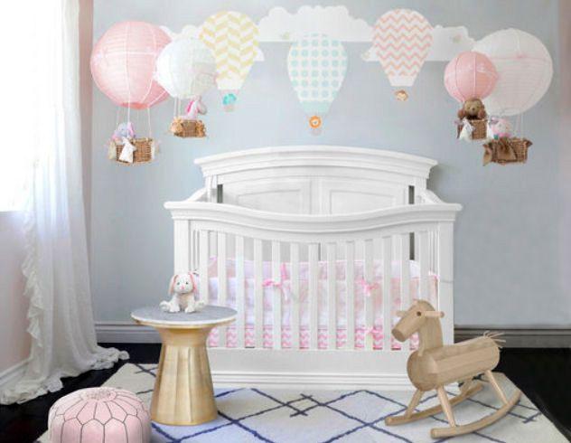 Vintage Hot Air Balloon Nursery Room Theme With Diy Hot Air Balloon Nursery Mobiles Made From Paper Lanterns Girl Room Girls Bedroom Themes Tween Girl Bedroom