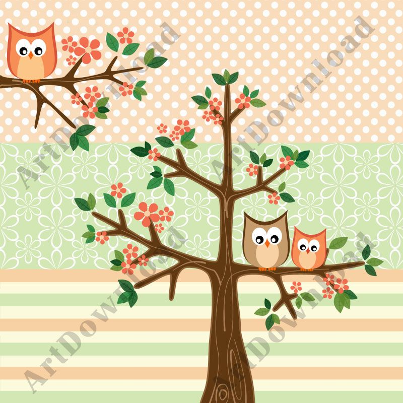 Tree With Baby Owl And Mama Owl - Clip Art Owl, Clip Art and Digital Paper Set, Digital Scrapbooking