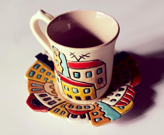 Coffee Clay Small Cup Houses Ceramic Pottery Mug Decor Espresso hQrxotdBsC