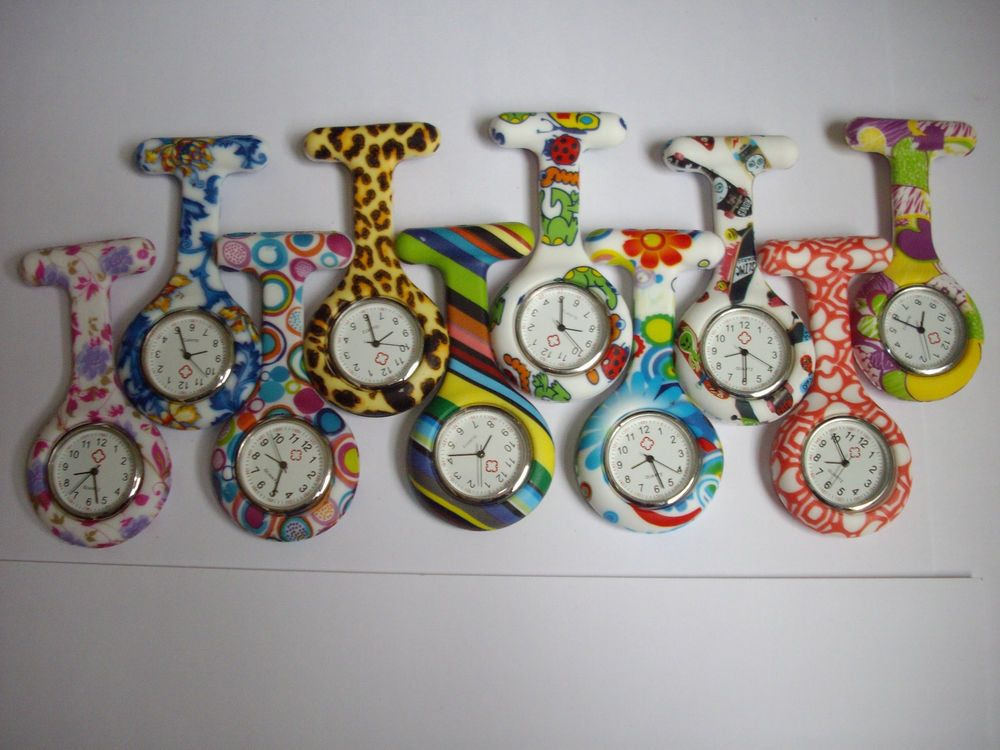 MIXED NEW STYLE Nurses 2 TONE Silicone Tunic fob batteries Watch