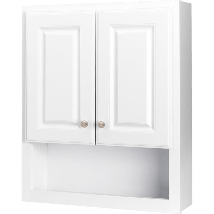Style Selections 23 25 In W X 28 In H X 7 In D White Bathroom Wall Cabinet Lowes Com Bathroom Wall Cabinets Bathroom Wall Cabinets White White Bathroom Lowes bathroom wall cabinets
