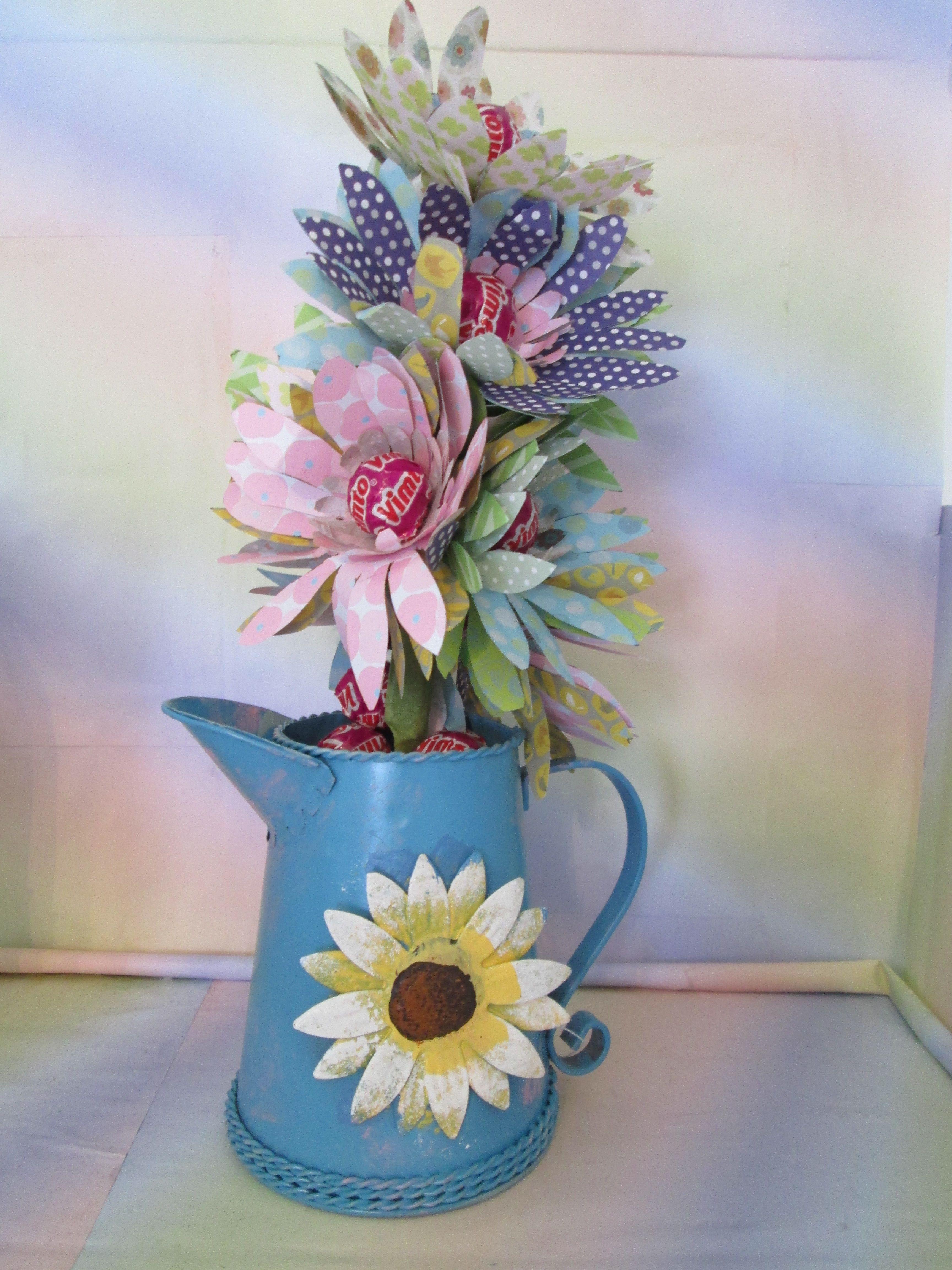Retro Vimto Lolly flower display in metal watering can | My Sweet ...