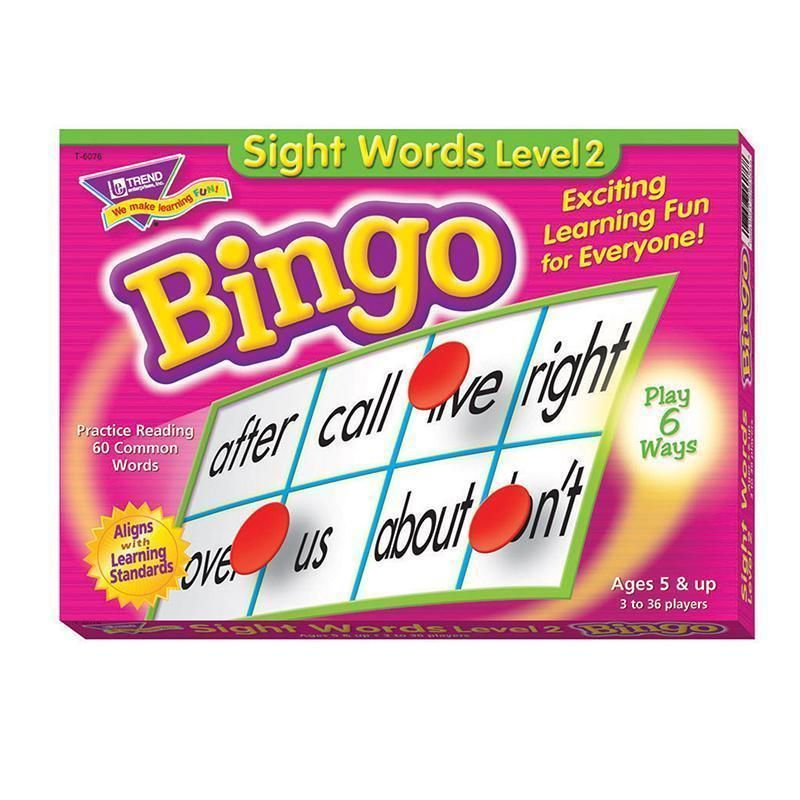 Bingo Game Sight Words Level 2