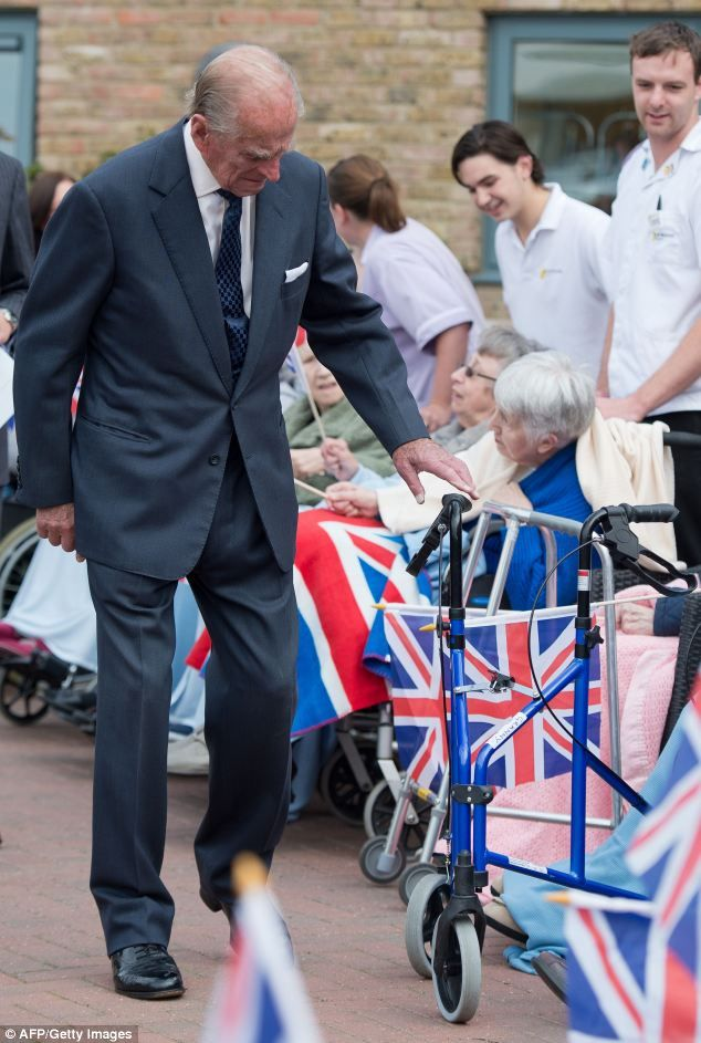 What's this? The sprightly Prince Philip, who visited the St Michael's Care Complex in Aylsham, Norfolk, today, looks curiously at the walki...