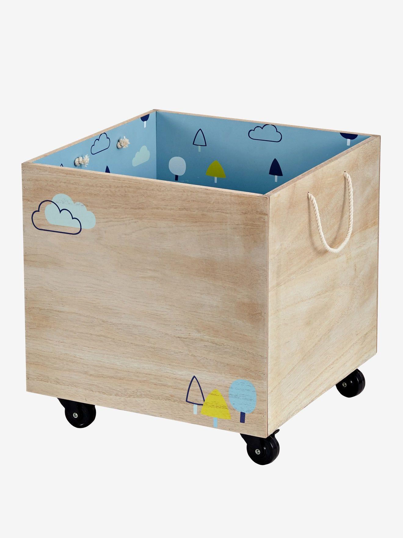 Caja con ruedas de madera madera / azul - Vertbaudet | Habitación ...