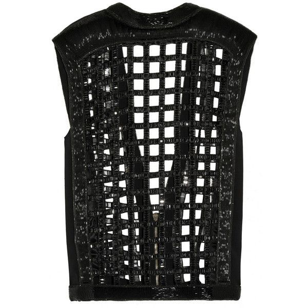 Balmain Cutout embellished silk-crepe top (£2,225) ❤ liked on Polyvore featuring tops, black, black top, black cut out top, black beaded top, beaded top and zipper top