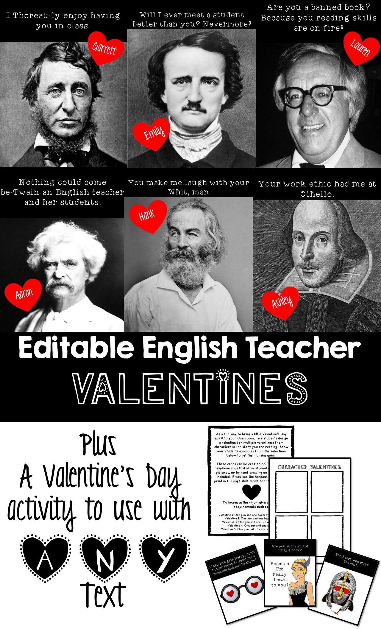 English Teacher Valentines Plus A Valentine S Day Activity For Any Text English Teacher Valentines Valentines Day Activities English Teacher