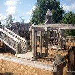 Hillsborough Municipal Playground in Somerset County has one of the few wooden castle playgrounds left in NJ.  shady and a HUGE sandbox.