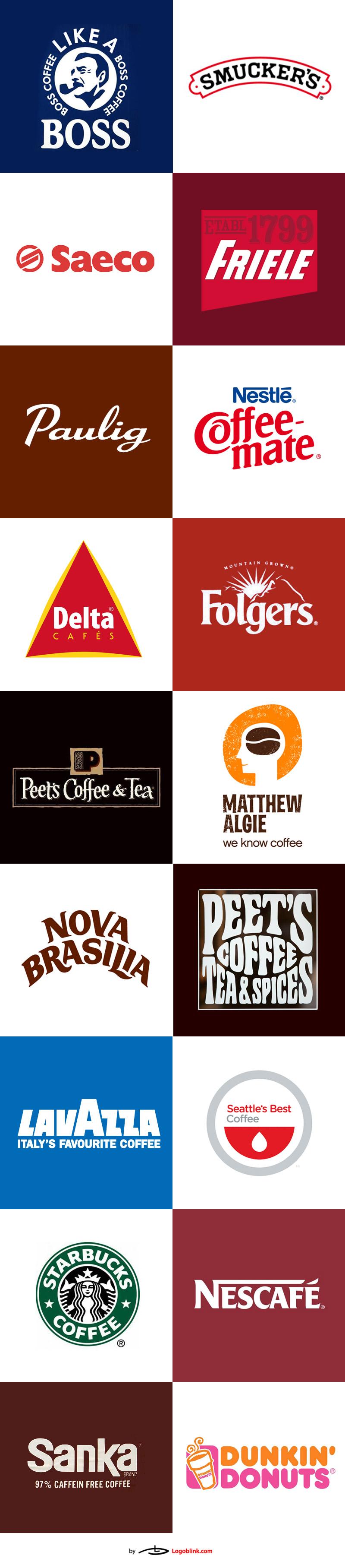 36 Famous coffee logos from around the world. Кофе