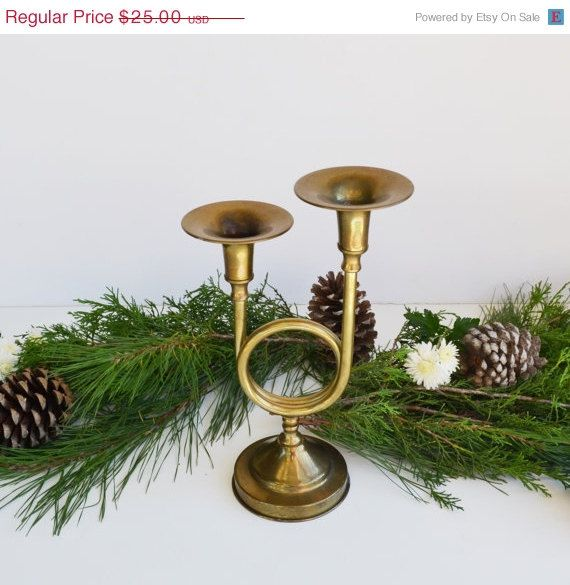 Holiday Decor Vintage Holiday Brass Christmas Trumpet Candle Holder with original box