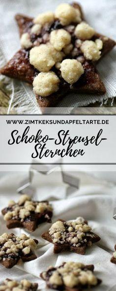 Streuselsternchen - Schokoladenkekse mit Streuseln und Marmelade - Zimtkeks und Apfeltarte