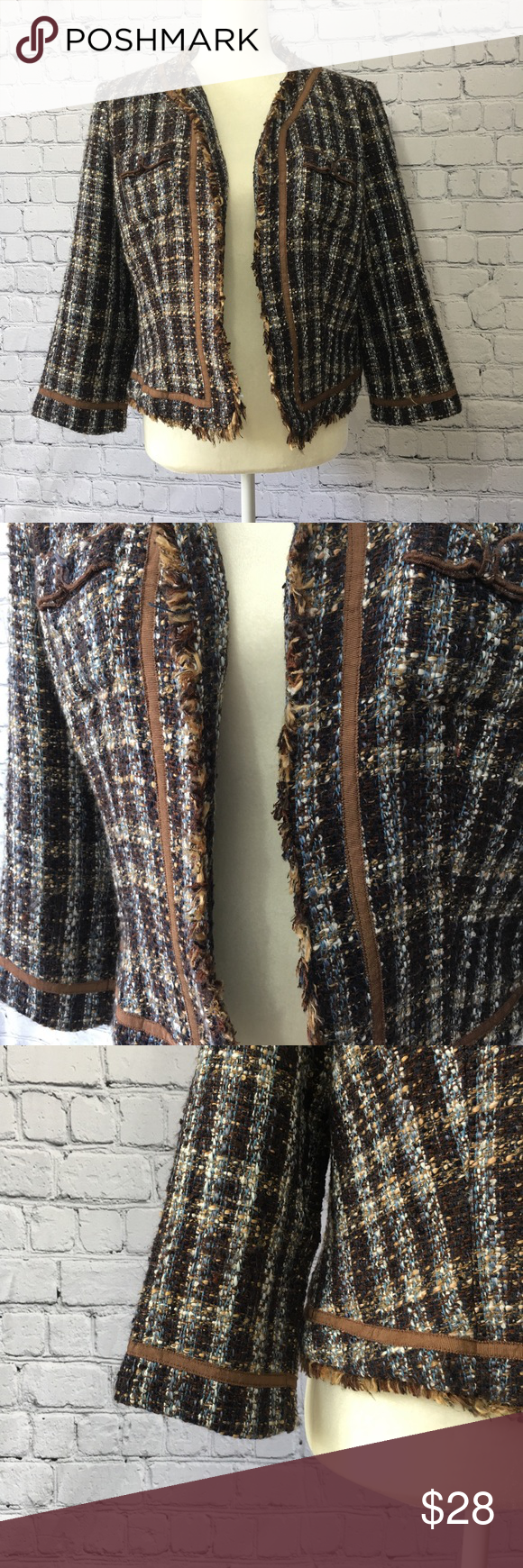 True Meaning tweed style Woman's Blazer Tweed plaid style