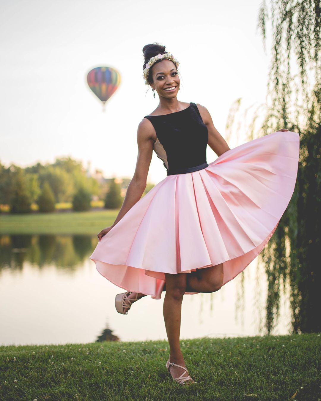 Black and pink satin high low short homecoming dress simple prom