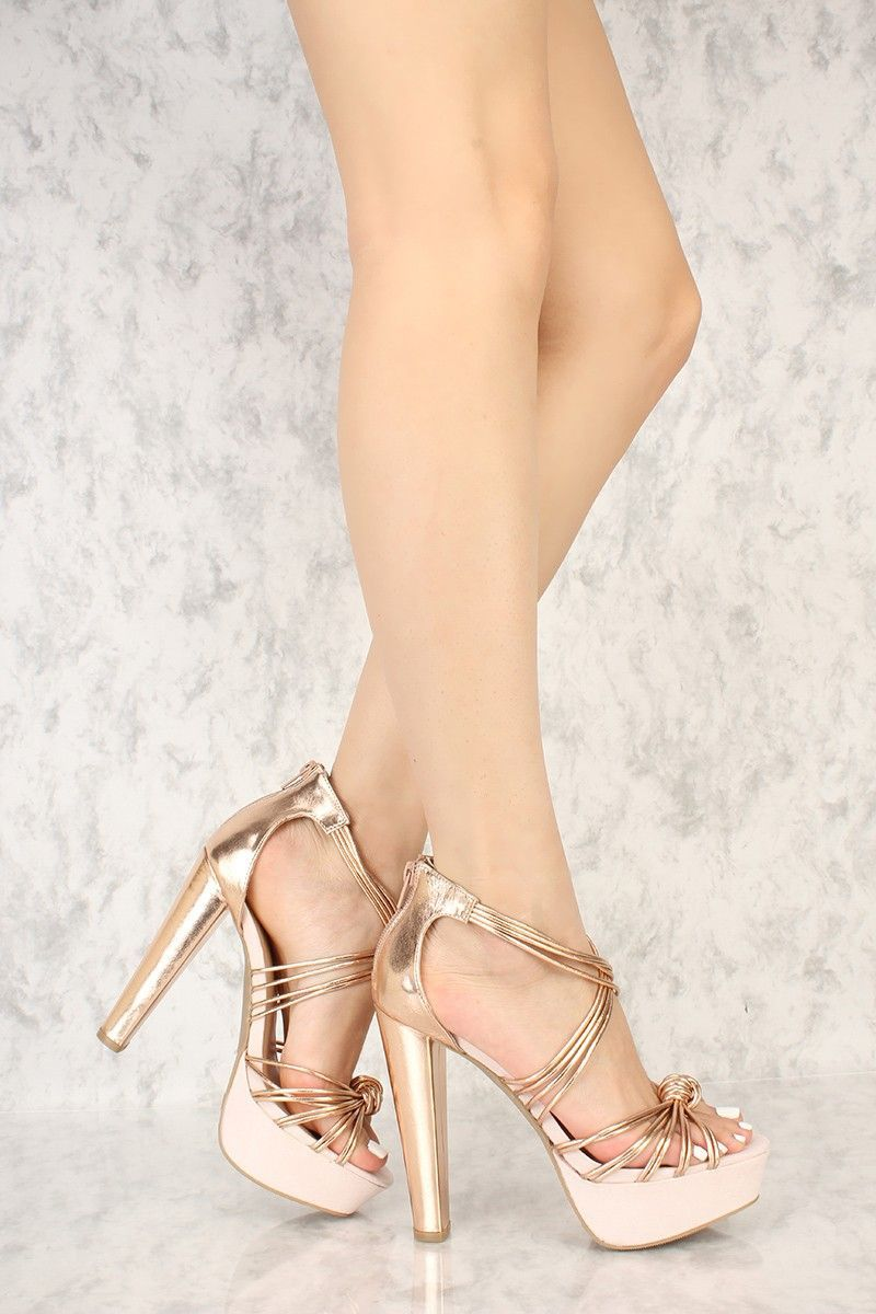 d17d8f87a49 Rose Gold Knotted Strappy Detailing Open Toe Platform Chunky High Heels  Faux Leather  Platformpumps