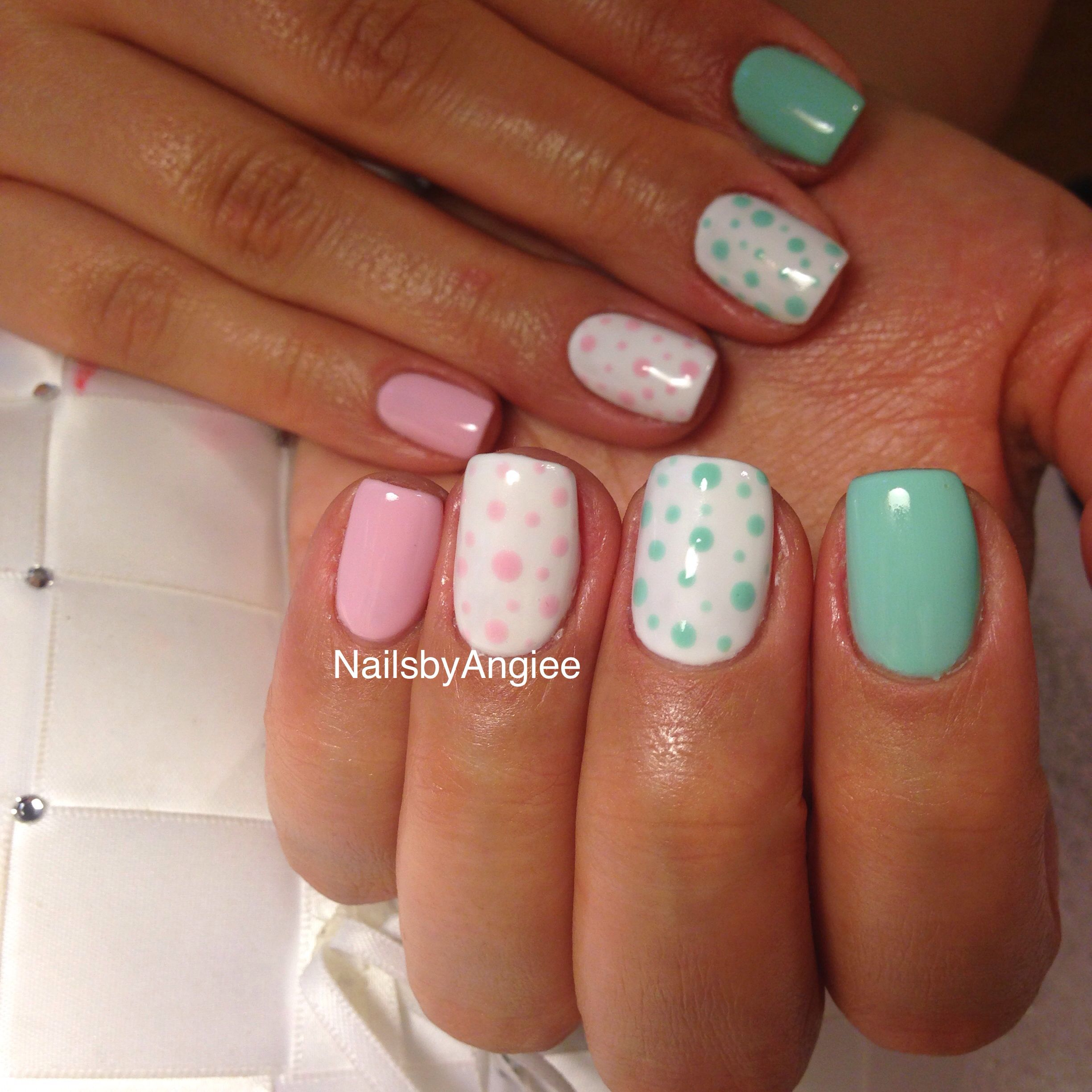 Gel with light pink and green design cute nail design for summer ...