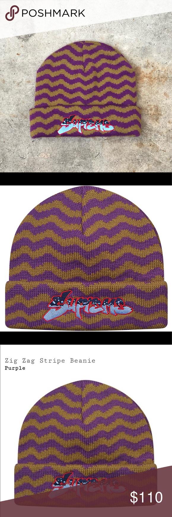 9e7c83a0fd7 Supreme Purple Zig Zag Beanie FW17 Deadstock Supreme Beanie Purple Zig Zag  Stripe FW17 NWOT Deadstock