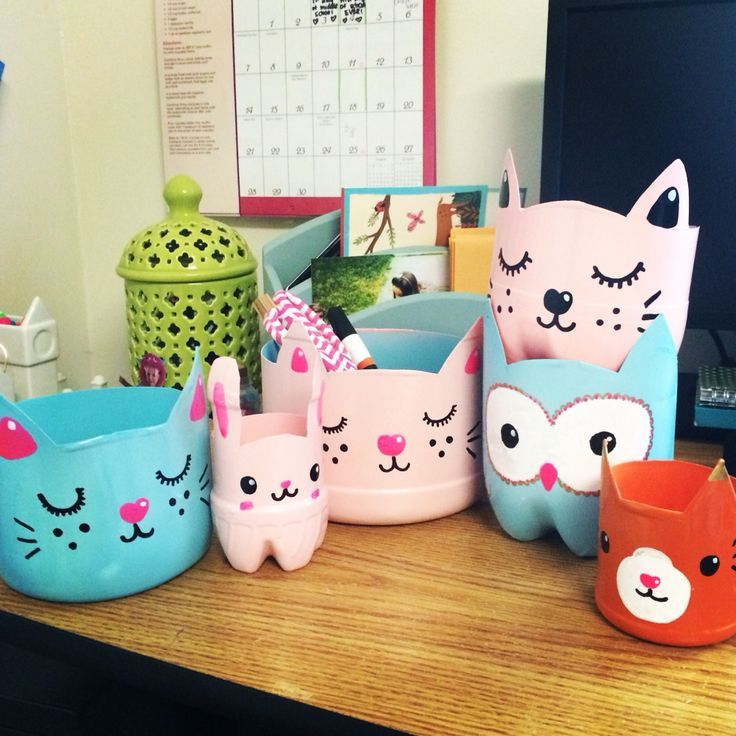 Creature Catch Alls Kitty Planters Upcycled Plastic Bottle Craft