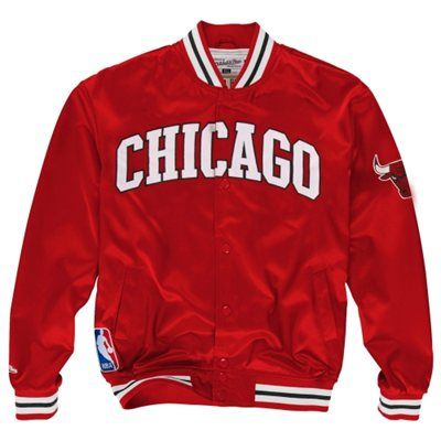 d6d629a5ae57c0 Mitchell   Ness Chicago  Bulls Third Quarter Satin Button-Up Jacket - Red   169.95