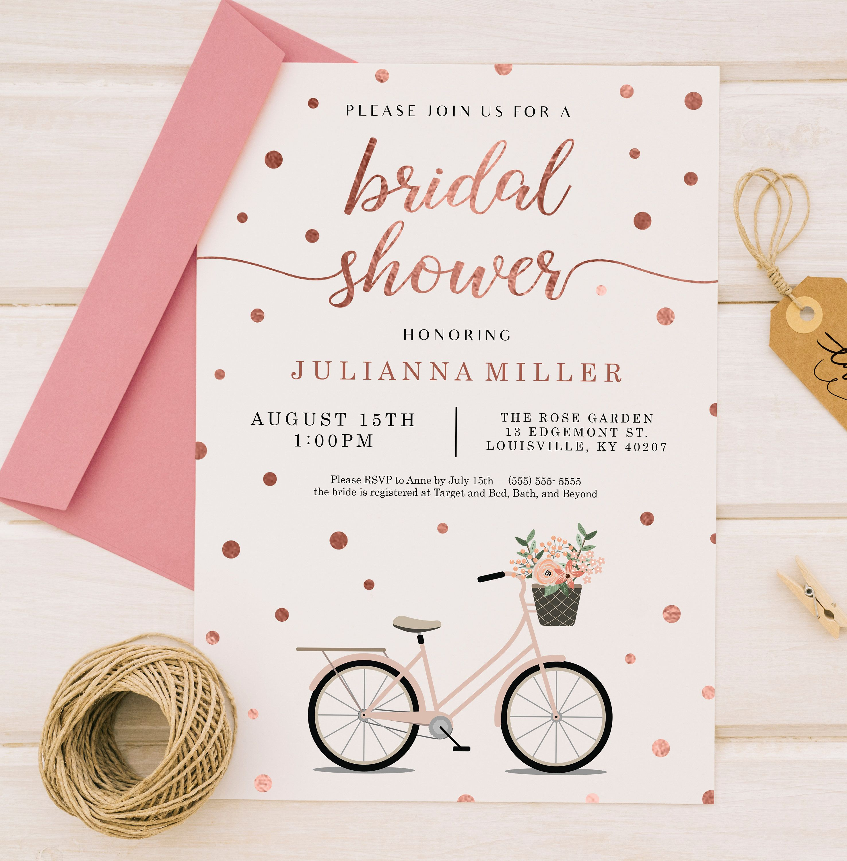 Rustic Bicycle and Flowers Bridal Shower Invitation