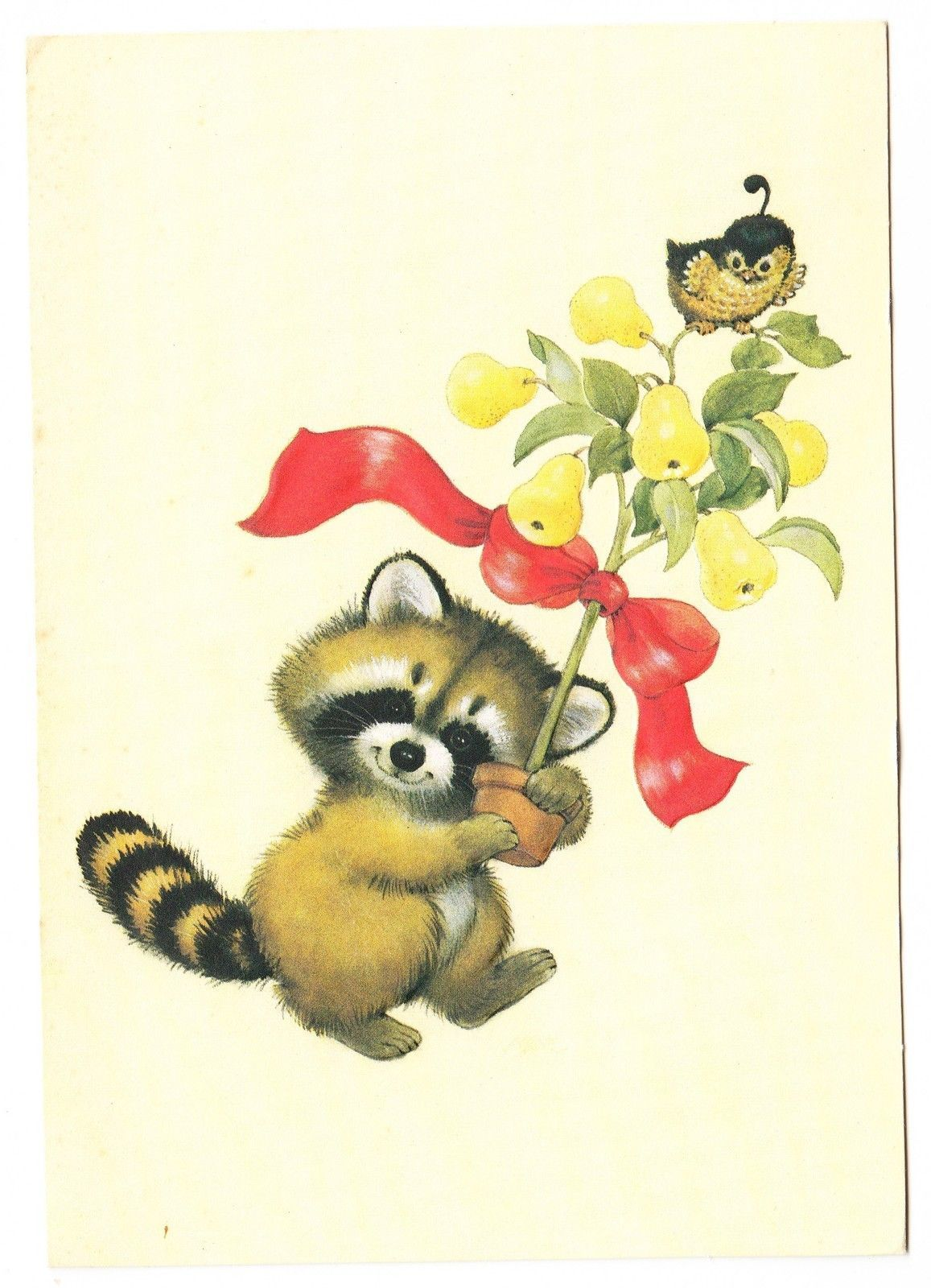 Vintage raccoon with pear tree and partridge christmas greeting card vintage raccoon with pear tree and partridge christmas greeting card ebay kristyandbryce Gallery
