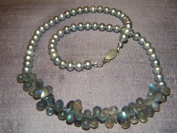 moonlight silverblue pearl and blueflash by SouthernBaubelles, $89.00