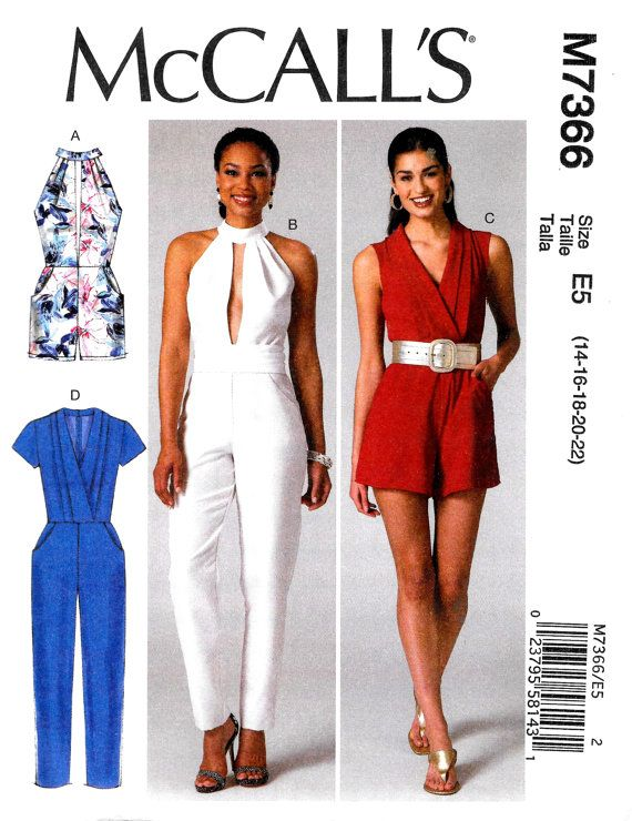 Womens Plus Size Jumpsuit & Belt, Womens Rompers McCalls Sewing ...