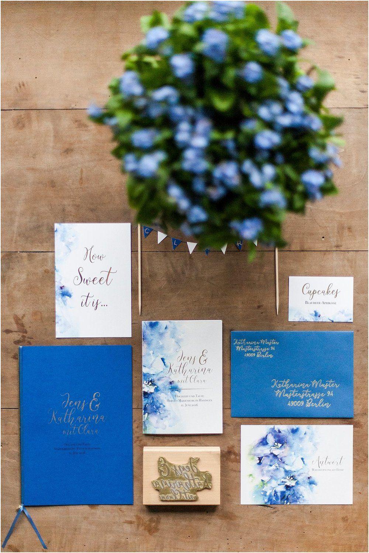 Papeterie Blau Gold Aquarell Anmut Und Sinn Eventstyling Dekoverleih Floristik Papeterie Antwortkarten Einladungen Hochzeit Hochzeitspapeterie