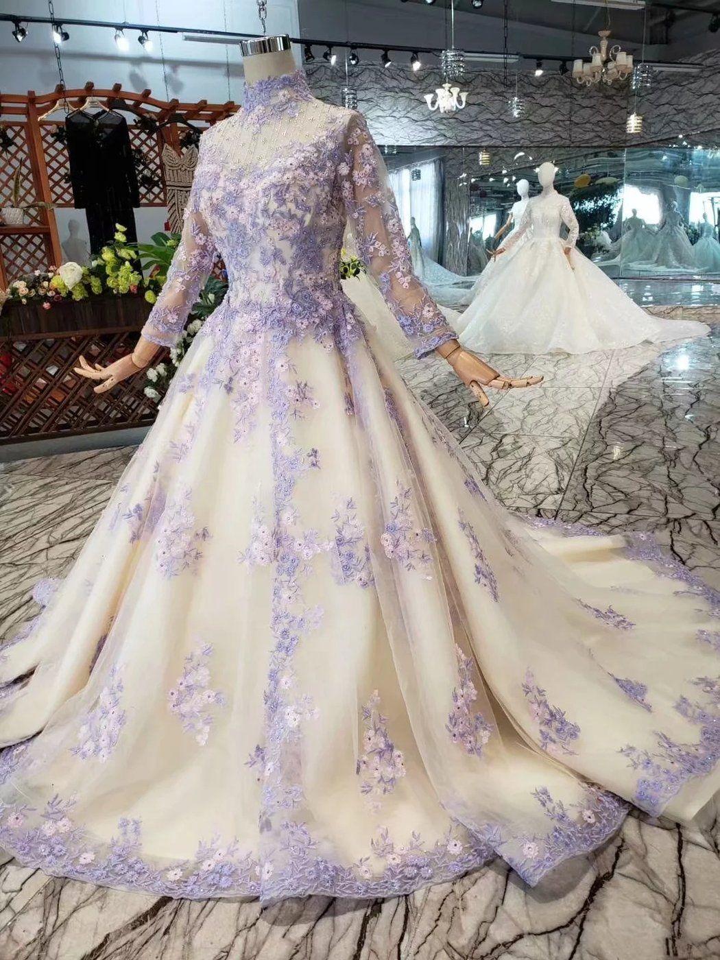 Light Purple Bridal One Shoulder Slim Simple Luxury Trailing