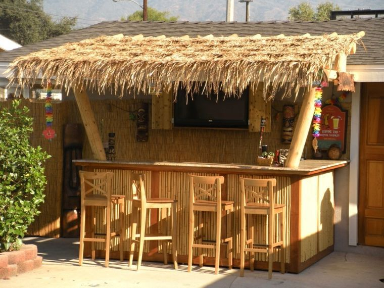 Paillotte En Bois Outdoor Tiki Bar Tiki Bars Backyard Outdoor Bar Stools