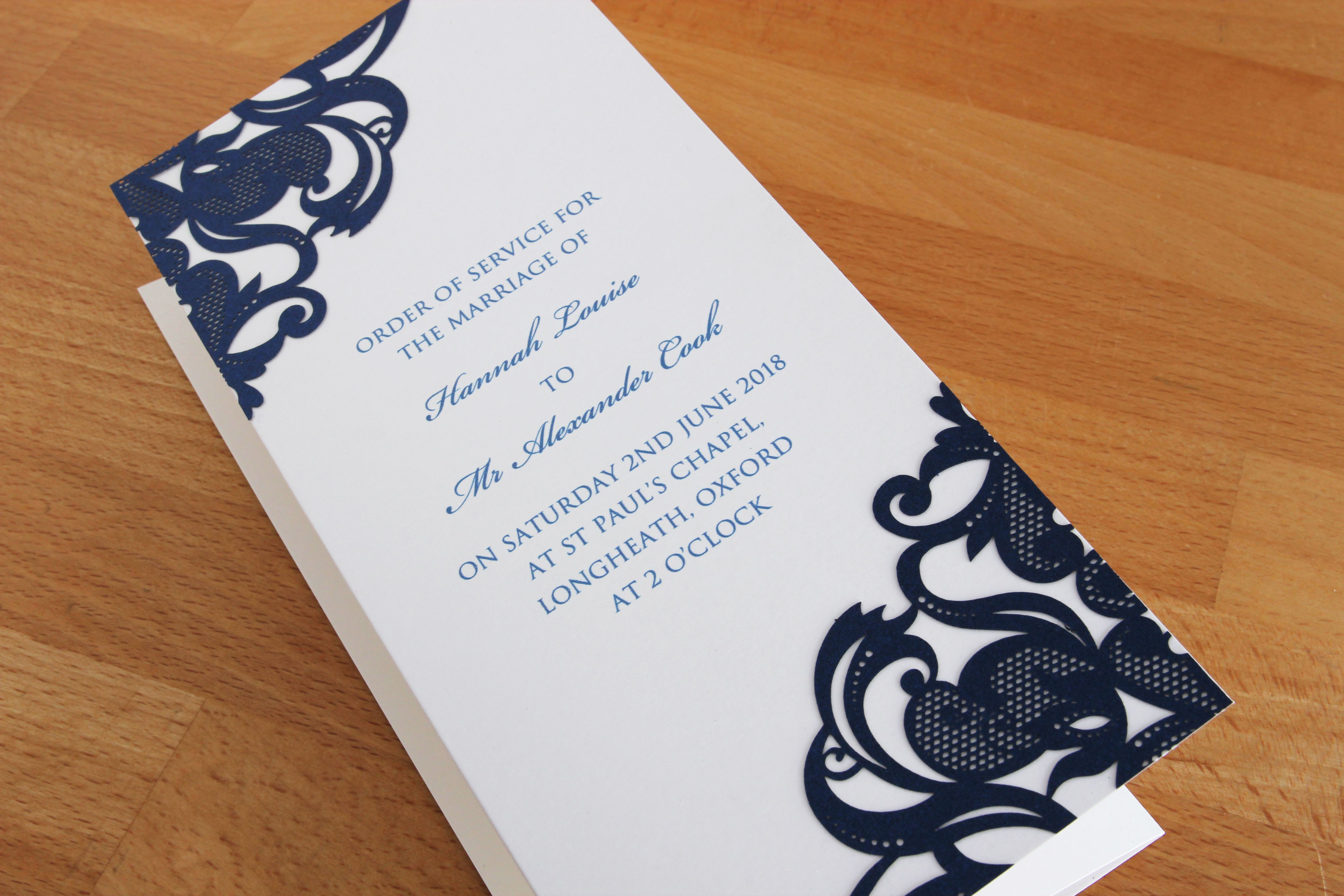 Rochester Order of Service with laser cut detail in cream and navy ...