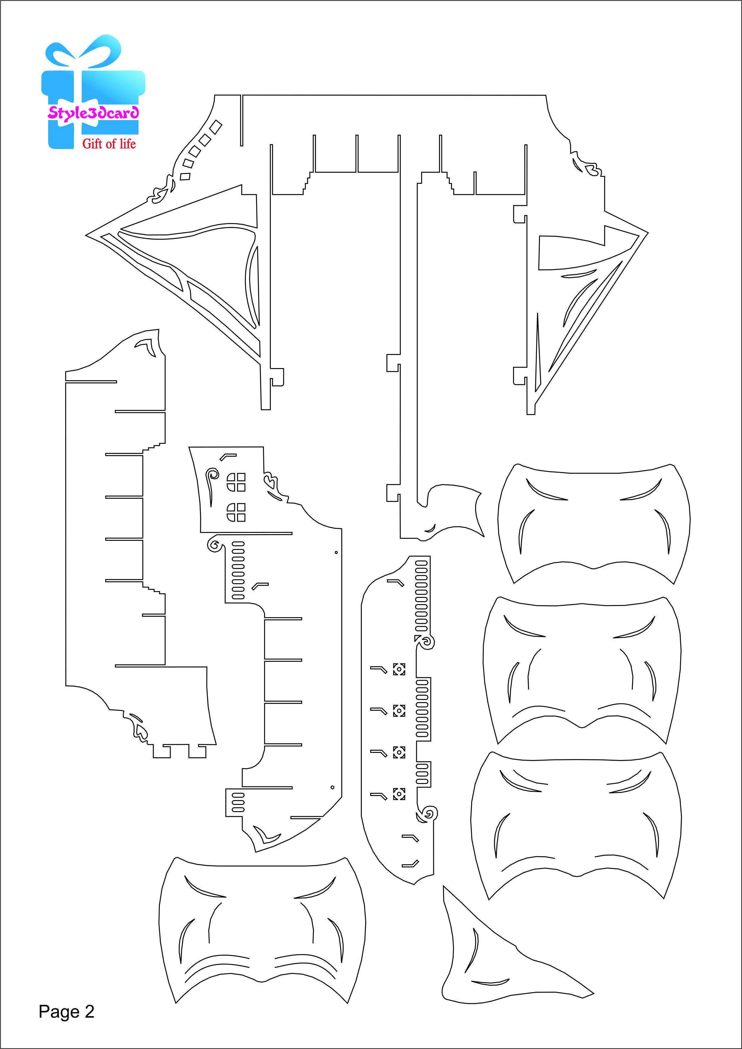 Pirate Ship 3d Pop Up Kirigami Pattern 3