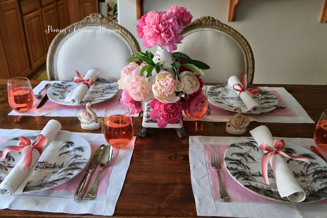 Peonies and Orange Blossoms: Pink Peonies Table Setting