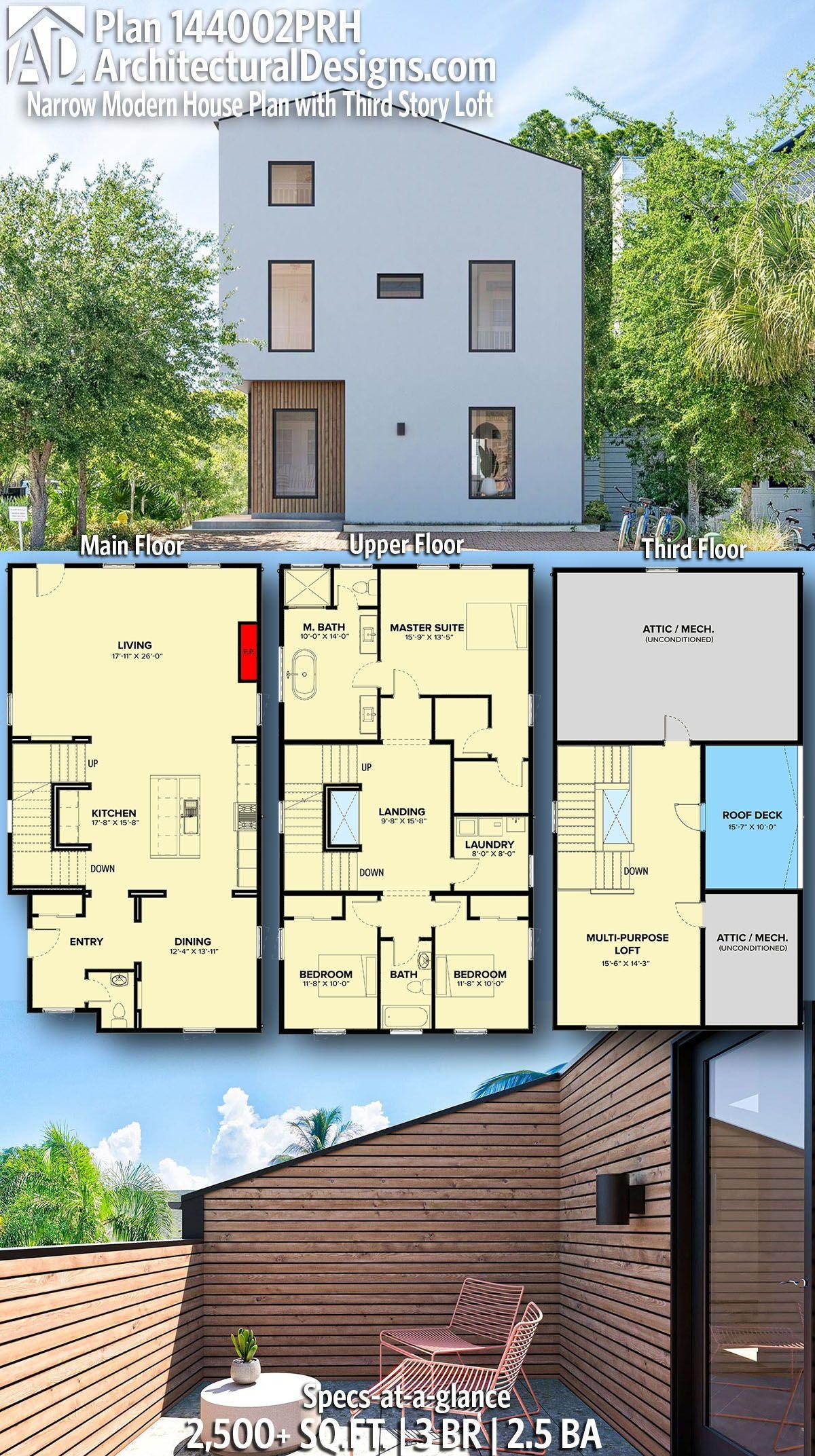 Plan 144002prh Narrow Modern House Plan With Third Story Loft Modern House Plan Narrow Lot House Plans Modern House Plans