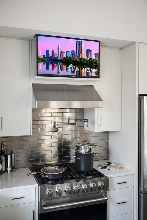 Hidden Flatscreen TV Over Kitchen Hood, Transitional, Kitchen, Sherwin Williams Snowbound