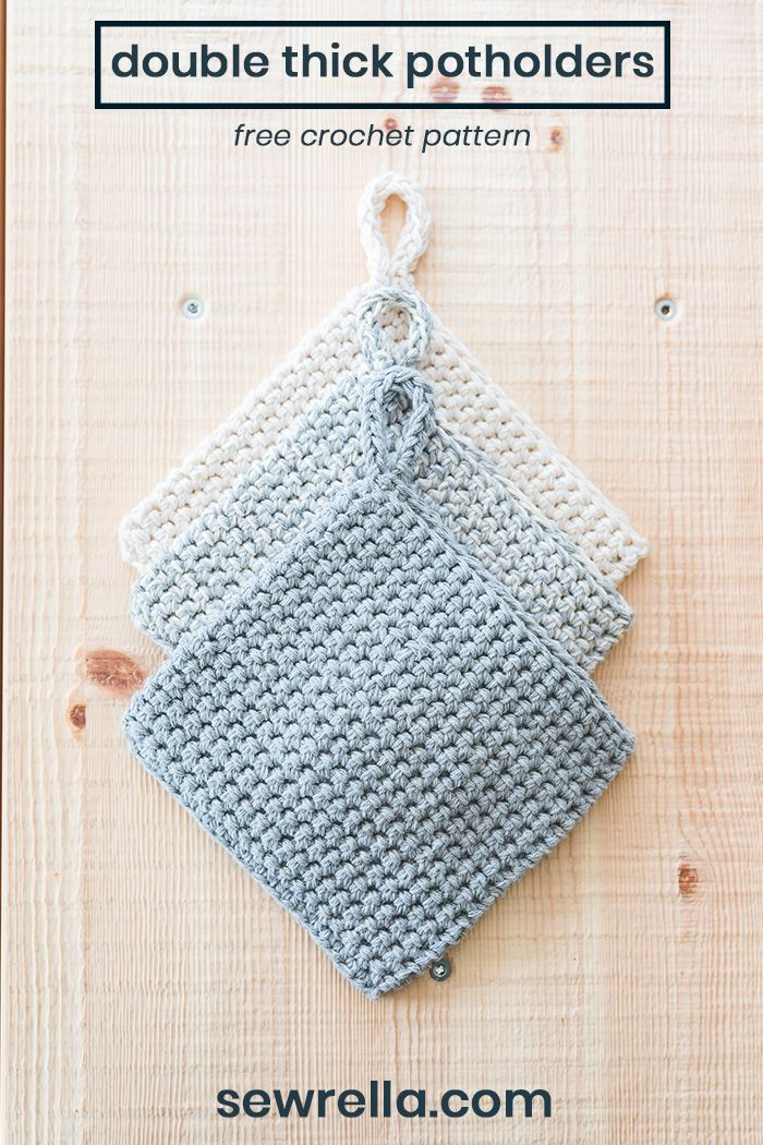 crochet double thick potholders - free pattern #crochetpotholderpatterns
