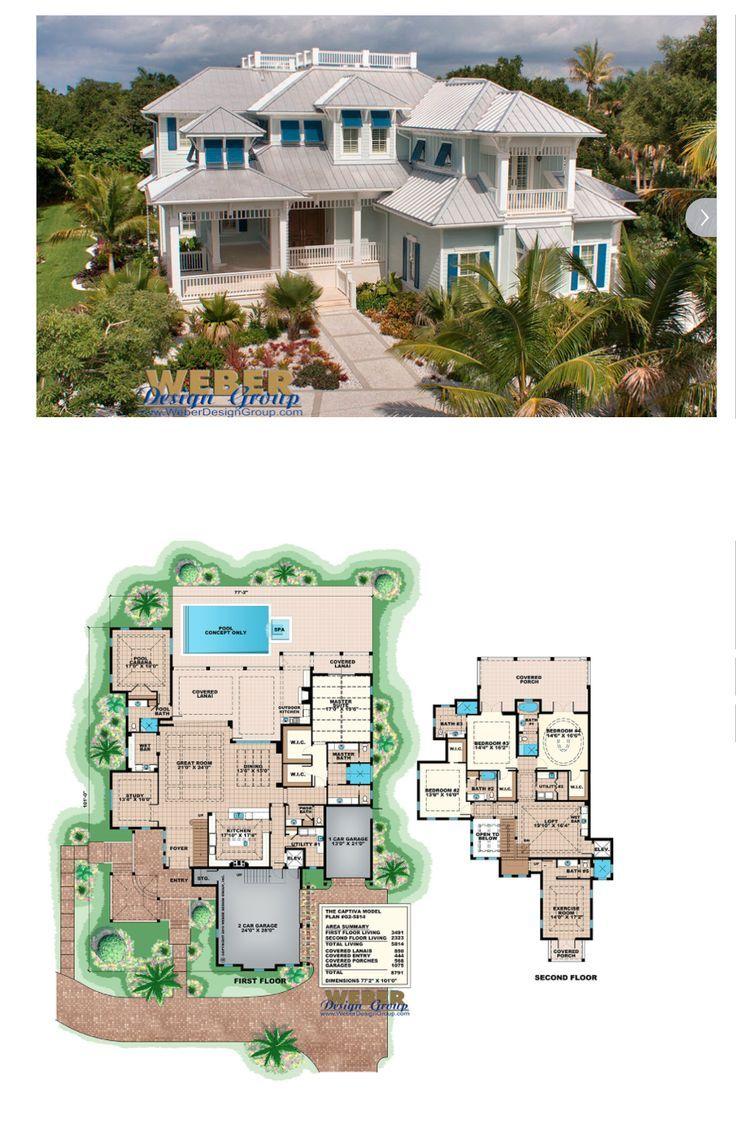 Beach House Plan 2 Story Coastal Home Floor Plan With Cabana Beach House Floor Plans Florida House Plans Beach House Plan