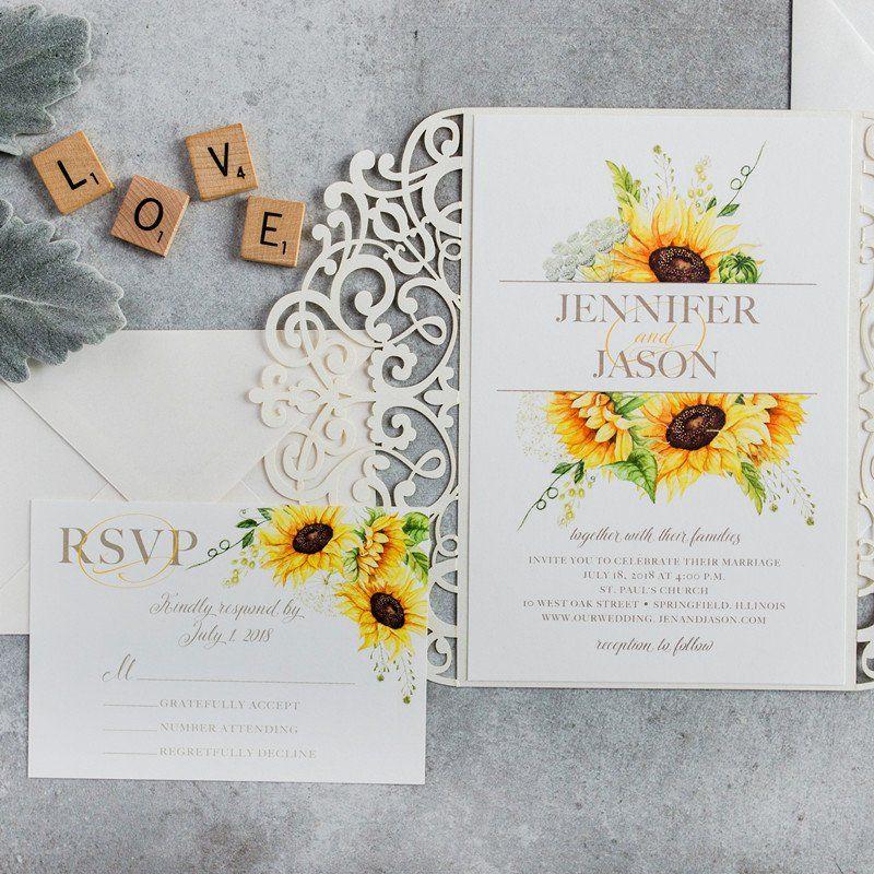 Sunflower Wedding Invitations Template Fresh Elegant