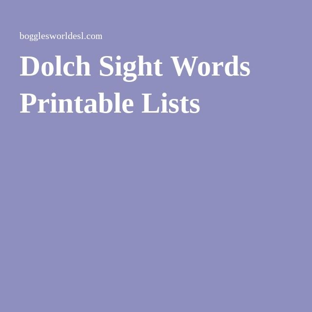Dolch Sight Words Printable Lists