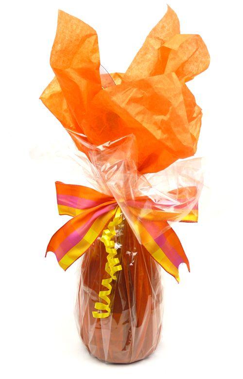 Vibrant And Bubbly Bottle Wrap Using Orange Tissue Paper