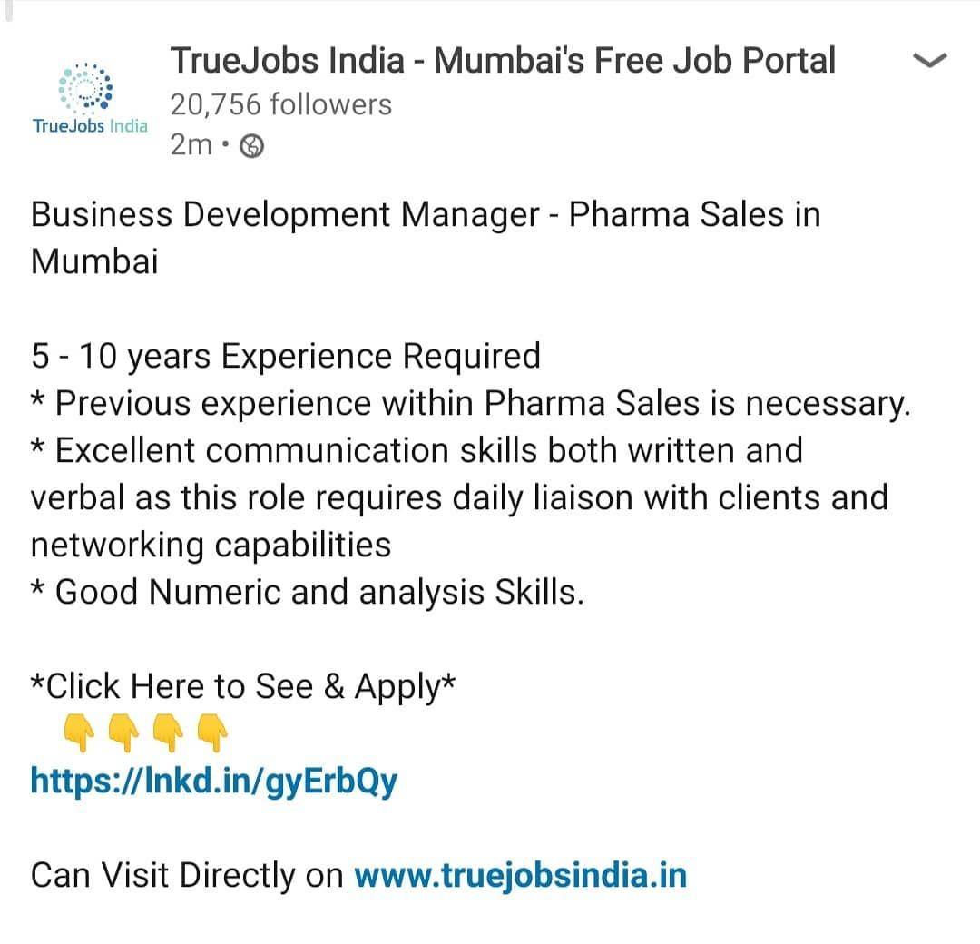 Business development manager pharma sales in mumbai