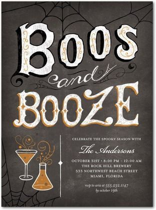 Boos and Booze Halloween Party Invites | Wedding + Party ...